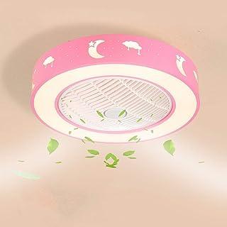 Wandun Lámpara LED de techo Ventiladores para el techo con lámpara moderna Redondo Control remoto de correa regulable Iluminación de techo interior Cuarto de niños Dormitorio Ventilador de Techo Luz d