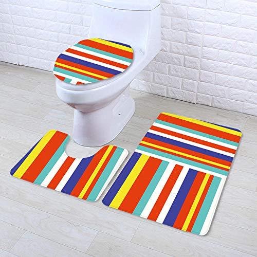 CCTYJ Super weicher Druck geometrische Toilettenbodenmatte dreiteilige Badezimmer rutschfeste Matte Wohnzimmer Teppich Computer Stuhl Fußmatte-C9