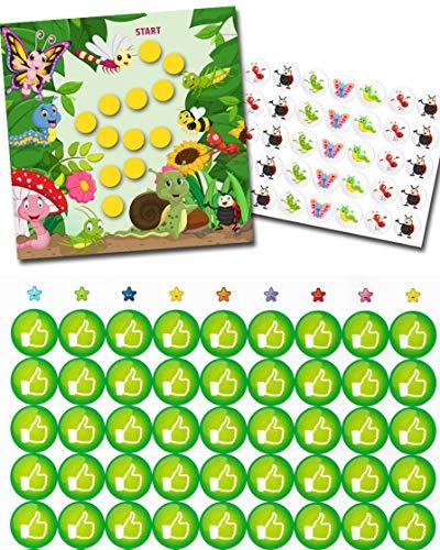 Potchentraining - kleurrijke beloningsblaadjes met voldoende veel stickers in set vrolijke insecten + extra 54 LIKE GROEN stickers kinderen baby verzorging