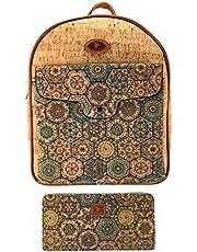 J.S ONDO Zaino donna in sughero, 2 pezzi, borsa zaino in sughero artigianale + portafoglio con stampa, borsa zaino ecologico realizzato in sughero portoghese.
