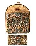 J.S ONDO Mochila Mujer de Corcho. 2 Pcs Bolso mochila de corcho artesanal + Billetero monedero con estampado. Bolso mochila Ecológico. Fabricado con corcho Portugués.