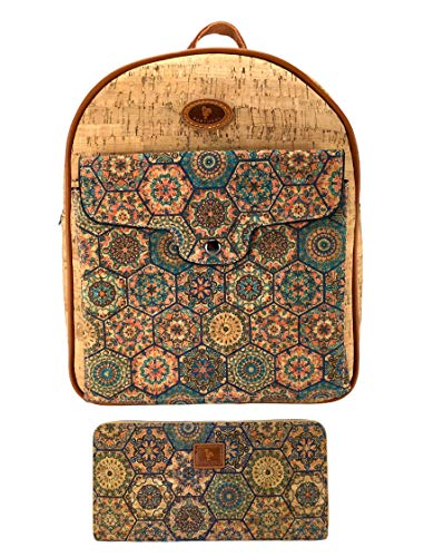 J.S ONDO Damen-Rucksack aus Kork, 2 Stück, handgefertigt, Kork + Geldbörse mit Muster, umweltfreundlich, aus portugiesischem Kork