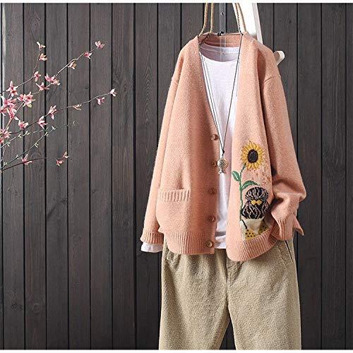 Hauts Nouveaux Cardigan Sauvages col V lâche s Femmes Jacquard littéraires Manches Longues Femmes Manteau Pull Pull Femme Hyococ (Color : Pink, Size : One Size)