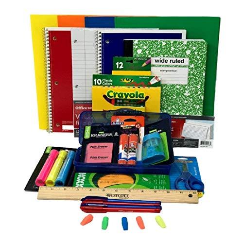 Paquete de suministros para escuela primaria combinada para niños de 26 piezas, guardería, 1, 2, 3, 4, 5 y 6 grados