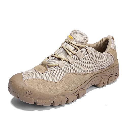 WYFC Chaussures De Randonnée Hommes, Basse Élévation Anti-Dérapant Escalade Trekking Chaussures De Marche Lace Up Daily Chaussures Occasionnelles,Beige,46
