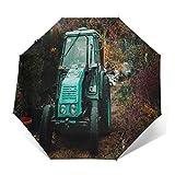 Ombrello Portatile Automatico Antivento, Ombrello Pieghevole Compatto, Folding Umbrella, Baldacchino Rinforzato, Impugnatura Ergonomica, Terreno autunnale del prato del trattore