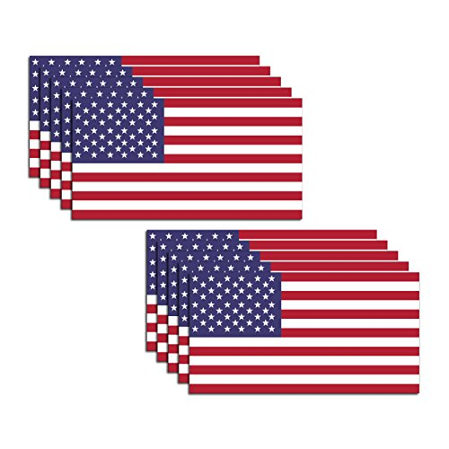 10 Pack American Flag Stickers - Made of 3M Vinyl - USA Patriotic Stickers - Bubble-Free Adhesive - Dishwasher Safe