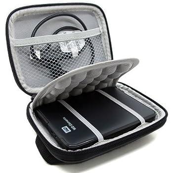 Co2Crea Hard EVA Shockproof Carrying Case Pouch Bag for Western Digital, Ultra Slim Essential Elements, Canvio, Samsung M3 Slimline, Passport - Black