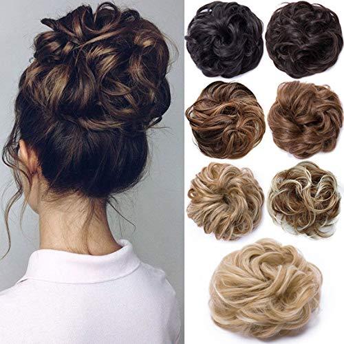 Extensiones de moño desordenado Piezas de cabello ondulado rizado para mujeres Extensiones de cabello de cola de caballo Updo Donut de pelo Accesorios para el cabello Marrón natural