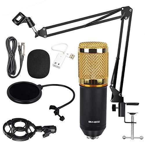 Kondensator Mikrofon Set,Professionell BM-800 Studio Tisch Mikrofon,Aufnahme Microphone,Schall Podcast Studio Rundfunk für Podcast Aufnahme PC Gaming (mit Arm Ständer&Halter, Gold)