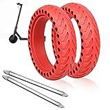 ANSENI Ruedas Macizas Roja para Patinete Electrico Rueda de 8.5 Pulgadas, Neumáticos de Reemplazo, Rueda de Repuesto Antipinchazo Compatible con Xiaomi Scooter Electrico M365/M365 Pro