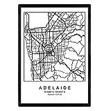 Nacnic Blatt Adelaide Stadtkarte im nordischen Stil schwarz