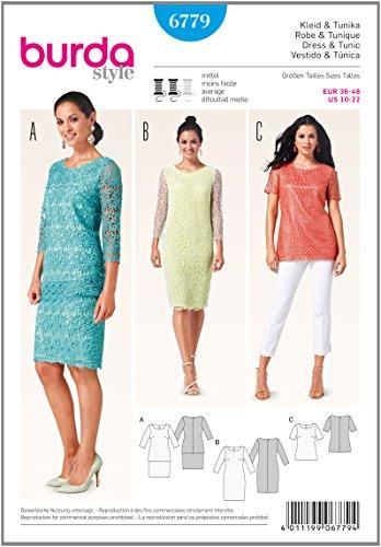 Burda 6779 Schnittmuster Kleid & Tunika aus Spitzenstoff (Damen, Gr. 36 - 48) Level 3 mittel