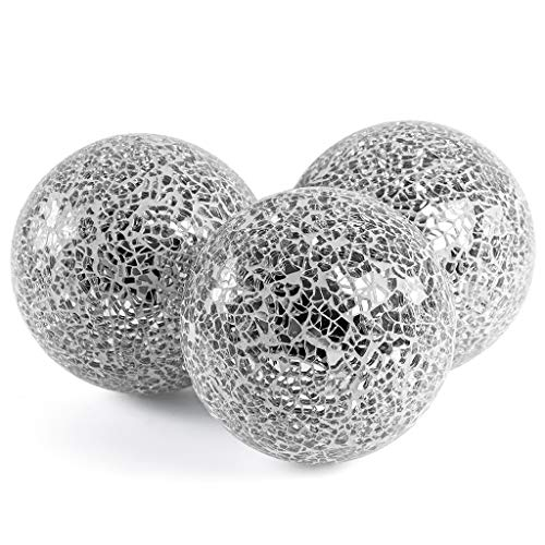 MDLUU 3 Pcs Decorative Orbs, Mosaic Sphere Balls, Centerpiece Balls for Bowls, Vases, Dining Table Decor, Diameter 4 Inches (Silver)