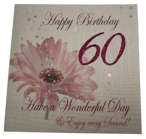White Cotton Cards Age 60 Handgemaakte verjaardagskaart bloemen, wit