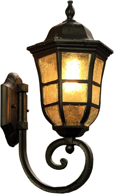 Retro LED Auen-Wandleuchte Schwarz Aluminiumguss Und Glas Schatten Gartenlampe IP44 Wand-Auenleuchte Hoflampe Auenlampe Wandlichte 23.5  44.8 Cm