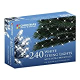The Christmas Workshop 240 String light ~ Mains Operated ~ Indoor or Outdoor ~ Bright White Static LED ~ 75510