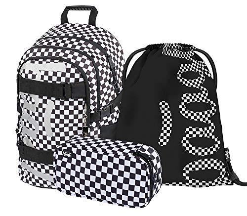 Schulrucksack Set Mädchen 3 Teilig, Schultasche ab 3. Klasse, Grundschule Ranzen mit Brustgurt, Ergonomischer Schulranzen (Skate Ska)