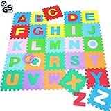 BAKAJI Tappeto Puzzle con Lettere Alfabeto colorato in Morbida Gomma Eva Resistente, Isolante,...