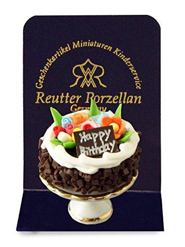 Geburstagstorte, Miniatur von Reutter Porzellan. Für 1:12 Puppenstuben.