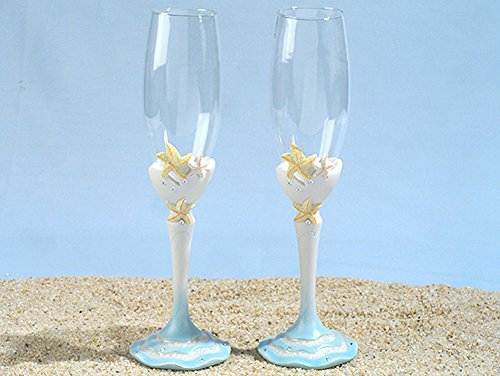 Starfish beach theme Toasting glasses set