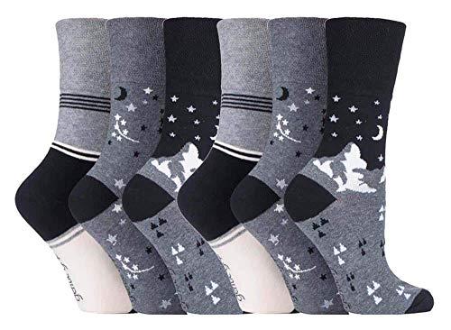 Gentle Grip - calcetines mujer sin goma colores fantasia estampados de algodon tamaño 37-42 eur (GG203)