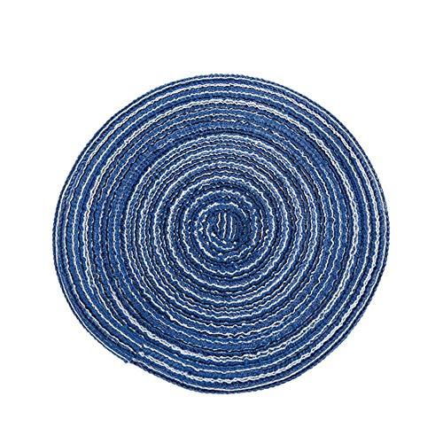 JIAYAN Tapis de Table Coaster Tapis Isolant Ramie Napperons Design Rond Solide Accessoires de Cuisine antidérapants en Lin, Bleu 18cm, Chine
