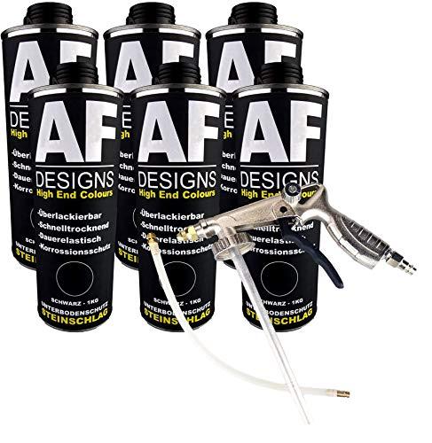 Alex Flittner Designs Steinschlagschutz/Unterbodenschutz schwarz 6x1kg überlackierbar + Unterbodenschutz Pistole Hohlraumpistole | Rostschutzpistole | Spritzpistole