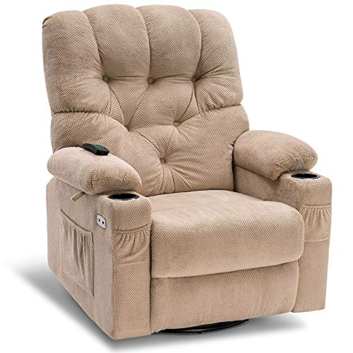 Mcombo Electric Power Swivel Glider Rocker Recliner Chair with Cup Holders for Nursery, Hand Remote Control, USB Ports, 2 Side & Front Pockets, Plush Fabric 7797 (Beige)