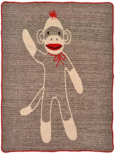 Green 3 Recycled Cotton Junior Throw Blanket Sock Monkey Brown/Red