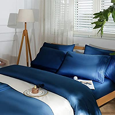 """SAKIAO -6PC Bed Sheets Set - Brushed Microfiber 1800 Thread Count Percale - 16"""" Deep Pocket Wrinkle Free & Fade Resistant (King,Navy Blue)"""