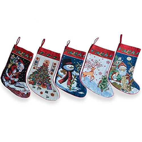 """BestPysanky 18"""" Set of 5 Santa, Snowman, Reindeer & Tree Christmas Stockings"""
