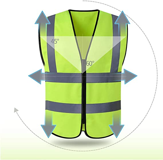 Hycoprot Warnweste Warnwesten Sicherheitsweste Hochsichtbare Reflektierende Weste Executive Manager Jacke Workwear Zip 2 Band Brace Security Gelb Xl Auto