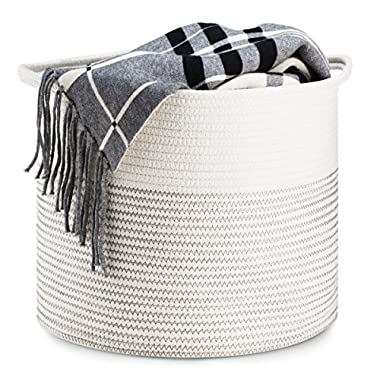 Storage Basket - Cotton Rope Storage Baskets with Handles, 15 x 15 x 13 , Decorative Color Design, Perfect for Toy Storage, Nursery Storage and Laundry Basket - Large, Off White