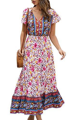 Spec4Y Maxikleid Damen Sommer Blumen Sommerkleider Lang Kleider Kurzarm V-Ausschnitt Strandkleider mit Kordelzug 190 Rot Medium