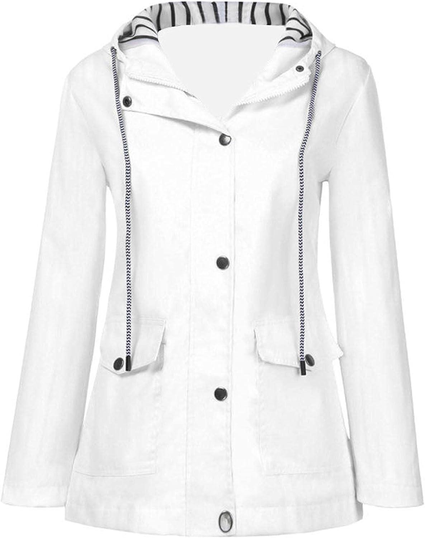 Women's Waterproof Windbreaker Jacket Plus Size Zip Up Hooded Lightweight Coat Teen Active Outdoor Trench Rain Jackets