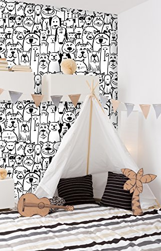 Removable Nursery Wallpaper Peel & Stick Dogs and Cats (28W x 56H Inches)