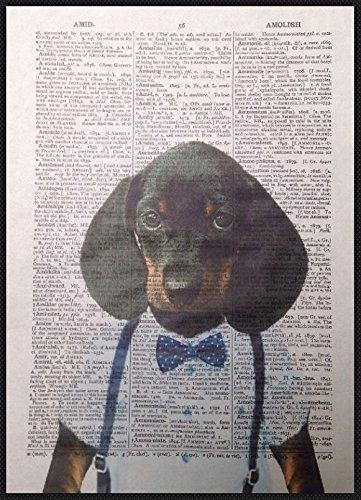Parksmoonprints Affiche de dictionnaire vintage Motif teckel