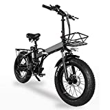 GW20 20 Pulgadas Bicicleta de montaña portátil, 750W Bicicleta eléctrica Plegable, Bicicleta de Nieve de 7 velocidades, 48V batería de Gran Capacidad (24Ah Bolsa + 1 batería Repuesto)