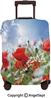 Travel Luggage Cover Dustproof Suitcase,Idyllic Spring Meadow with Poppy and Daisy Flowers Sunny Sky Clouds Garden Multicolor,26x37.8inches,Cover Suitcase Protector Carry-On