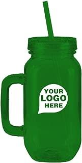 CloseoutPromo Mason Jar With Straw- 12 Quantity - $19.45 Each - PROMOTIONAL PRODUCT/BULK/BRANDED with YOUR LOGO/CUSTOMIZED