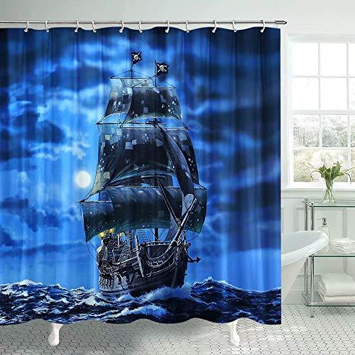 Pirate Ship Shower Curtain for Nautical bathroom Fantasy Ocean Vintage Pirate Ship Bath Curtain Sets Ocean Themed Full Moon shower curtain Polyester Fabric Bath Curtain Decor with Hooks 69x70Inches
