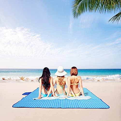 Braoses Manta de pícnic impermeable de 200 x 200 cm, para playa, para exteriores, XXL, plegable, con bolsillo, para playa, camping, senderismo, hierba y viajes, color azul