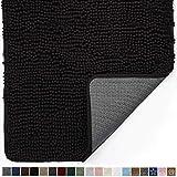 Gorilla Grip Original Indoor Durable Chenille Doormat, 24x17, Absorbent Machine Washable Inside Mats, Low-Profile Rug Doormats for Entry, Mud Room Mat, Back Door, High Traffic Areas, Black