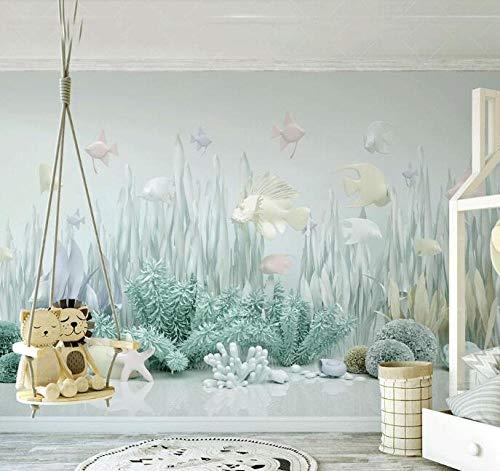 3D vliesbehang fotovlies premium fotobehang Sea World 3d Catoon wallpaper voor muren baby kinderkamer achtergrond 200*140 200 x 140 cm.