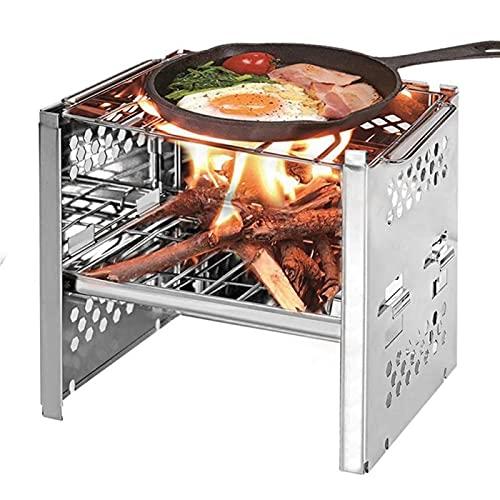 FEANG Grill Tragbare Klappgrill Grill Outdoor Holz Burning Edelstahlherd Picknick BBQ Grill Kebab Abdeckung Zubehör Holzkohlegrill Grillwerkzeug