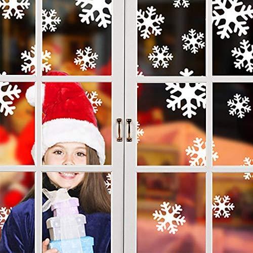 Pegatinas de ventana de copos de nieve, adhesivo de pared de Navidad electrostático blanco para ventanas de decoración de Navidad, adornos para suministros de fiesta, 108 piezas