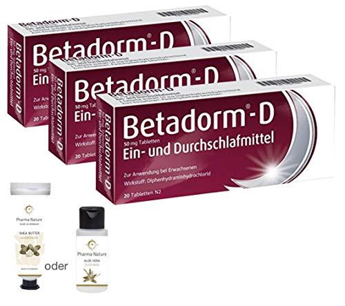 Betadorm D - 3er Sparset 3x20 Tabletten - inkl. einer pflegenden Handcreme o. Duschbad von Pharma Nature