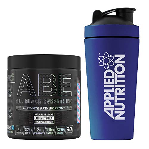 Applied Nutrition Bundle ABE Pre Workout 315g + 750ml Steel Protein Shaker   All Black Everything Preworkout Boosts Energy & Performance with Citrulline, Creatine, Beta Alanine (Bubblegum Crush)