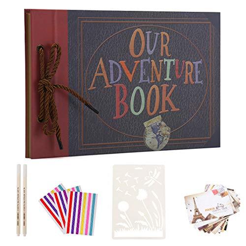 AIOR Álbum de Fotos Autoadhesivo, Our Adventure Book Album Scrapbook, Vintage DIY Álbum de Recortes Scrapbooking, Libro de Invitados Boda Aniversario Regalo del día de San Valentín